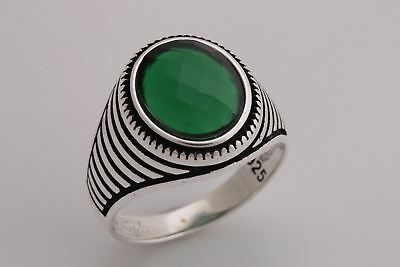 Turkish Handmade Jewelry Oval Emerald 925 Sterling Silver Men's Ring Size 10