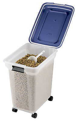 45L Airtight Clear Plastic Storage Catering Bin Container Pet Food on wheels