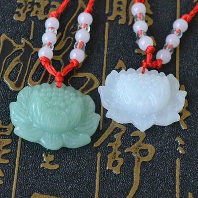 2 pcs Jade Carved Lotus Flower Pendant Necklace Beads Rope Chain Lucky Amulet