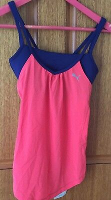 Puma Womens Sports Tank With Inbuilt Crop New With Tags
