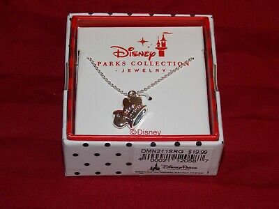 Disney Parks Rose Gold Bow Ear Headband Mickey Minnie Mouse Silver Necklace New