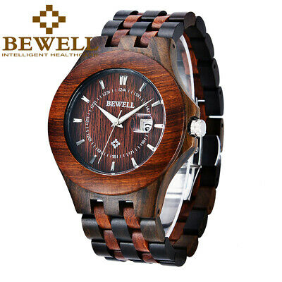 BEWELL Wooden Watch for Men Magnified Date Window Luxury Mens Quartz Watches