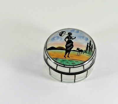Antique Art Déco Hand Painted Enamel Dresser Box a Girl with Umbrella and Dog