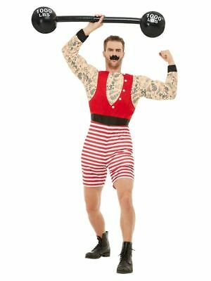 Mens Deluxe Strongman Costume Circus Showman Adult Fancy Dress Outfit