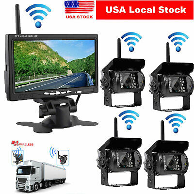"4x Wireless IR Rear View Back up Camera+7"" LCD Monitor For Truck RV Car 12-24V"