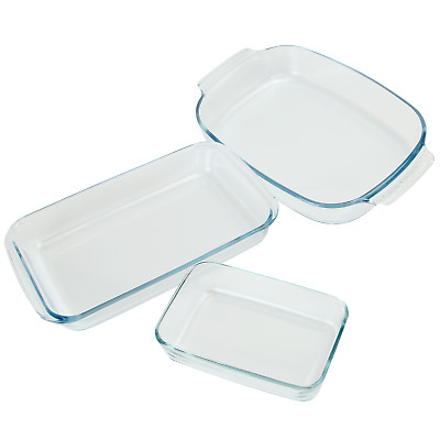Set of 3 Glass Oven Cooking Dishes | Rectangular Roasting & Baking Trays | M&W
