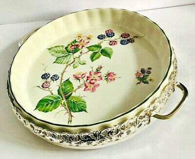 Jewellers Collection Ceramic Flan Dish on Silver Plated Display Carrier⭐️⭐️⭐️⭐️