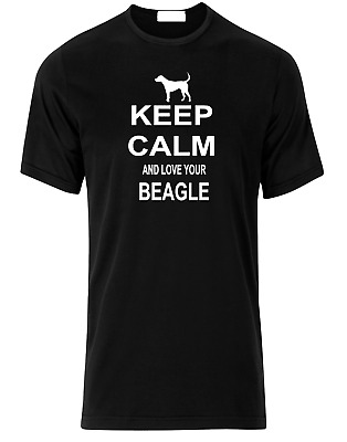 Keep Calm And Love Your Beagle Hound 100% Red Black Cotton T-Shirt. S-XXLarge