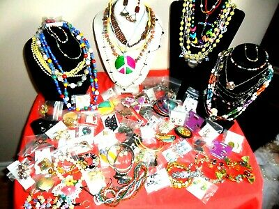 Huge 99 Pc Lot-Multi Color Costume Signed Vtg Jewelry-Mexico-Glass-Enamel-Lucite