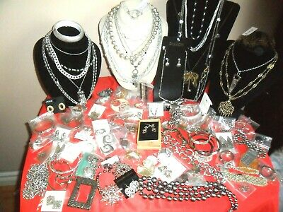 Huge 90 Pc Lot-Silver -Silvertone Costume Signed Vtg Jewelry-Necklaces-Earrings-