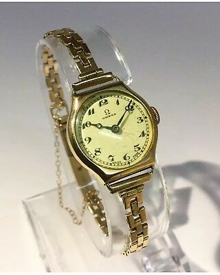 Vintage 1920s Ladies Solid 9ct Gold Omega Mechanical Manual Wind, Wrist Watch