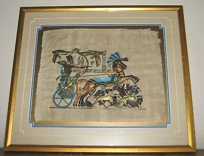 King Tut Bow Hunting on a Chariot Dogs Modern Egyptian Painting on Papyrus Paper