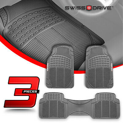 Premium Heavy-Duty 3 Piece Rubber GRAY Car Floor Mats All Extreme Weather PVC