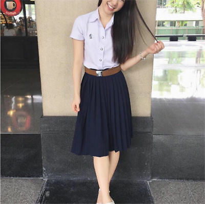 c0dfe892f GEORGE ME NAVY Blue Box Pleated Skirt With Ribbon Belt Size 8 New W ...