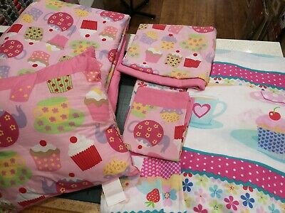 Girls bedding set, quilt cover, curtains cushion, quilted bed throw Pj case