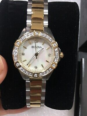 98R236 Bulova Ladies Two Tone Stainless Steel and Diamond Watch