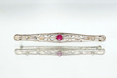 14K White Gold Filigree Ruby and Seed Pearl Bar Pin