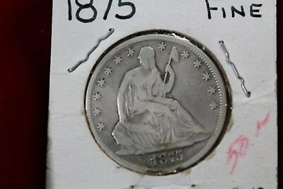 1875 United States Seated Half Dollar Coin, Old Silver U.s. Fifty Cent Coin