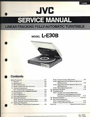 Service Manual JVC L-E30B turntable record player Repair book schematic linear