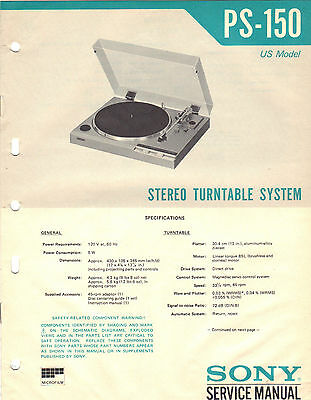 Sony PS 150 Service Manual turntable stereo record player Original Repair Book