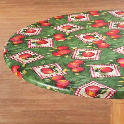 FITTED Vinyl Table Cover Fitted  Elasticized Round Oval Blue Green Sand Backed