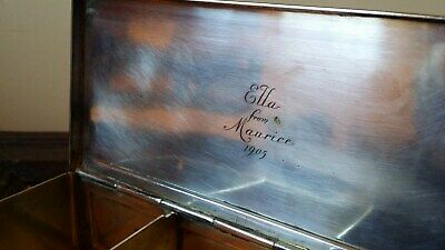 1905 Edwardian Silver Plated Brass Cigarette Box - Very Good Quality