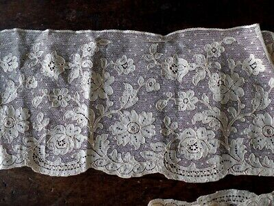 Ancienne Dentelle Couture Mercerie Embroidery Ruban 13.2 Cm X 1.4 Metres B1