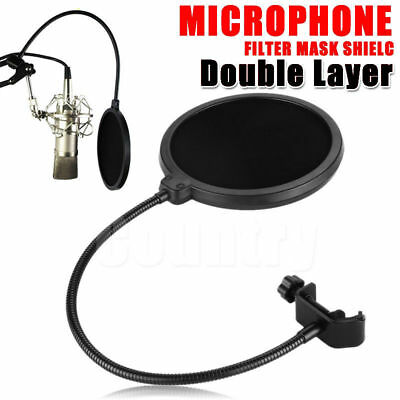 Microphone Pop Filter Recording Studio Mic Wind Screen Mask Shield Double Layer