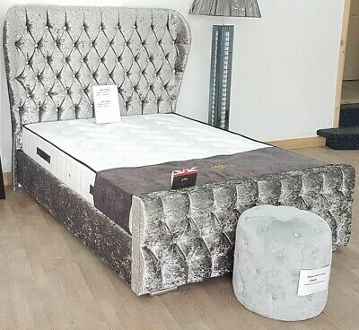 New Stylish Modern Wingback Diamonte Oxford Sleigh Bed Double & King Size