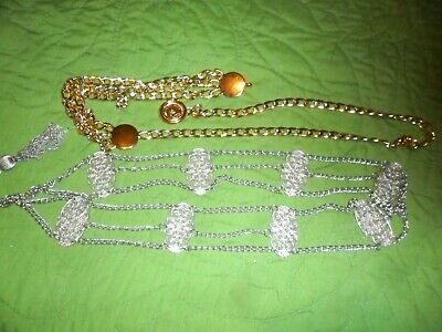 2 METAL BELTS-GOLD TONE & SILVER TONE  JEWELRY --CHATELAINE STYLE - lot