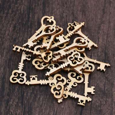 20 Pcs Handmade Unfinished Natural Wooden Keys Patterned Embellishment for Shoes
