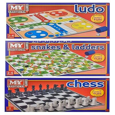 Chess or Snake&Ladders or Draughts or Ludo Traditional Board Game Family Fun
