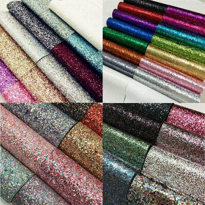 "8""x53"" Roll Chunky Glitter Hologram Fabric Vinyl Sequin Faux Leather Bows Craft"