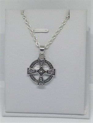 CELTIC CROSS in Circle, Round Charm, Pendant & .925 Necklace - R726