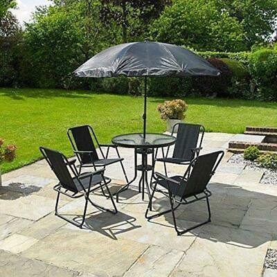 Garden Furniture 6 Piece Dining Patio Set 4 Chairs Table Parasol Outdoor Black