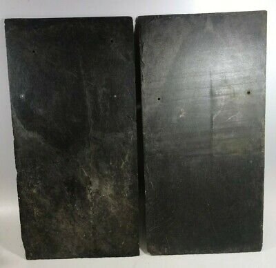 "1900s VINTAGE ROOF SLATE SHINGLES GRAY LARGE 20"" L X 10"" W QTY 3 PAINT CRAFT"