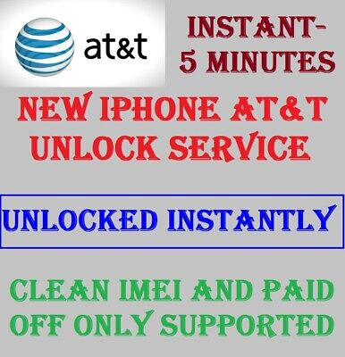 Factory Unlock Service For At&T Iphone Xs Xr X 8 8+ 7+ 7 6+ 6 5 Clean Imei