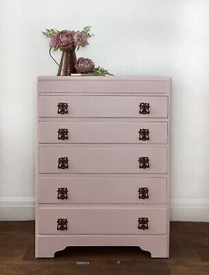 Pale Pink And Copper Hand Painted Vintage Chest Of Drawers With Rose Gold Lining