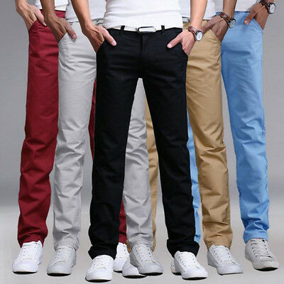 Mens Designer Regular Straight Fit Trousers Cotton Chino Casual Work Pants Jeans