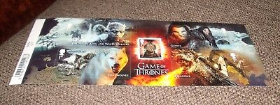 NEW  -  GAME of THRONES 2018 MINI SHEET MINT STAMP SET - WITH BARCODE MARGIN