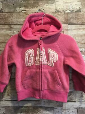 NWT BABY GAP Arch Logo Zip Up Hoodie 2T 2 Years Pink Fleece Hoodie Toddler  Girls