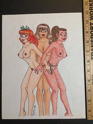 1243 Original Comic Book Art Signed Goester Pin Up Style 1995 Drawing Sketch