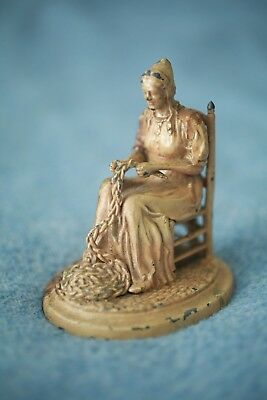 1930 Vintage Antique Cast Pewter ? Metal Woman Knitting JH BATES JR Hand Painted