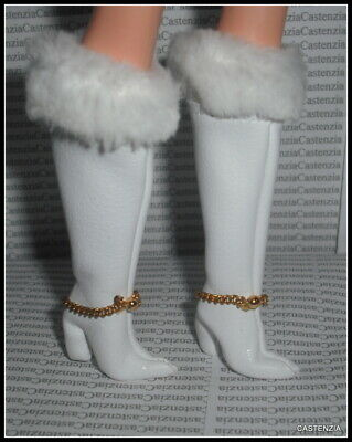 Shoes Barbie Doll Reproduction Red White Warm Faux Leather Boots Accessory
