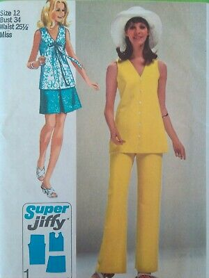 a7acf297904 Simplicity Sewing Pattern-Misses  Jiffy MINI-SKIRT-BLOUSE-PANTS-Size
