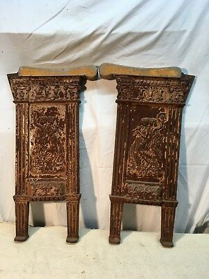 2 Antique Ornate Cast Iron/Wood Art Deco Theater Seat End Side Panel Salvage