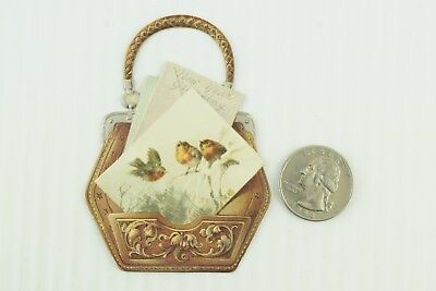 1880's Lovely Birds Lady's Purse New Years Die Cut Victorian Card PD107