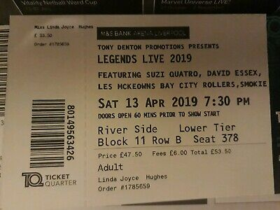 Concert tickets 2019 legends 70s & 80s music  3 tickets available sell together.