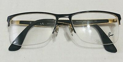 NEW RAY BAN RB6335 2890 MATTE BLACK GOLD 100% AUTHENTIC EYEGLASSES FRAME 54 mm