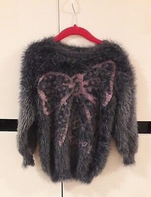 °°° Pull gris avec noeud rose style angora T.4 ans °°°